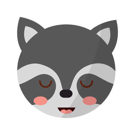 A cute head raccoon animal close eyes cartoon vector illustration