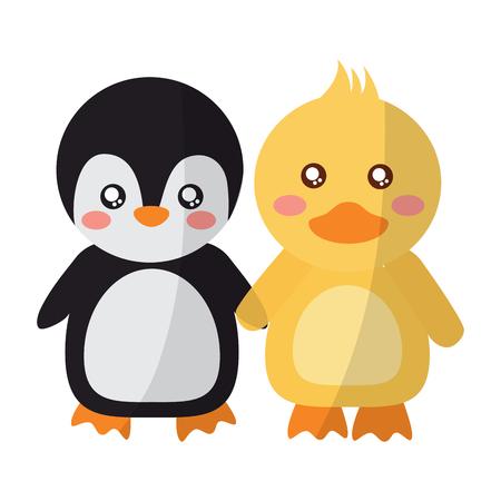 Un pingüino y un pato de los animales lindos que llevan a cabo la ilustración del vector de las manos Foto de archivo - 93443632