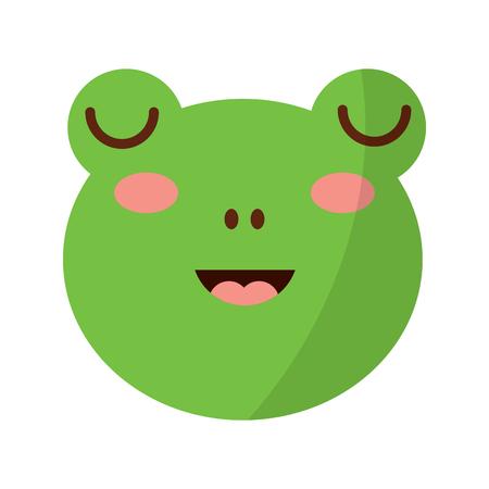 cute head frog animal close eyes cartoon vector illustration