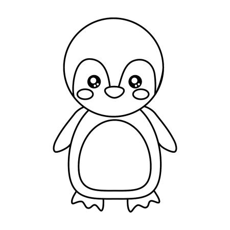 cute penguin animal standing cartoon wildlife vector illustration outline design