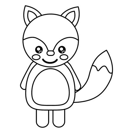 cute animal fox standing cartoon wildlife vector illustration outline design