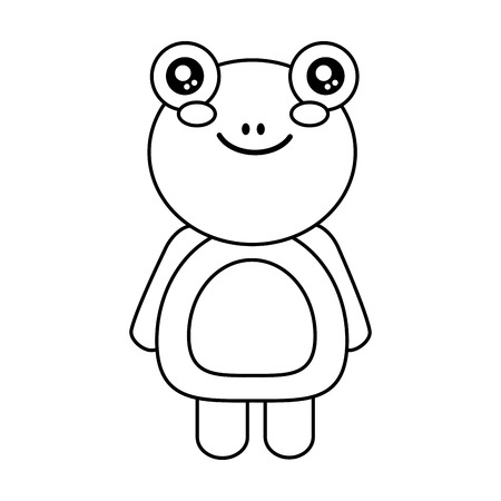 cute animal frog standing cartoon wildlife vector illustration outline design Ilustrace
