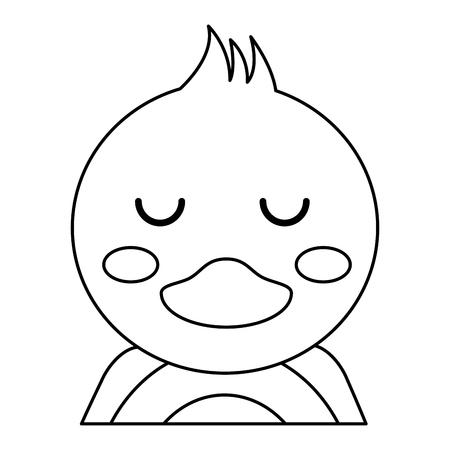 ●目を閉じたかわいいアヒルの動物の赤ちゃんベクトルイラストアウトラインデザイン