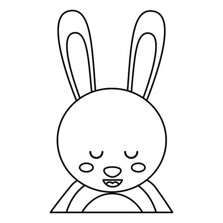 目を閉じたかわいいウサギの動物の赤ちゃんベクトルイラストアウトラインデザイン