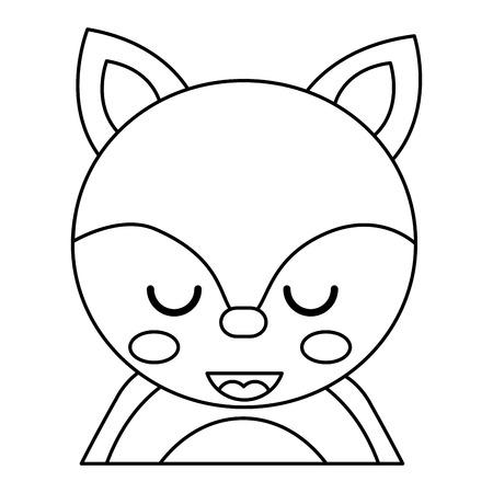目を閉じたかわいいポートレートキツネ動物の赤ちゃんベクトルイラストアウトラインデザイン  イラスト・ベクター素材