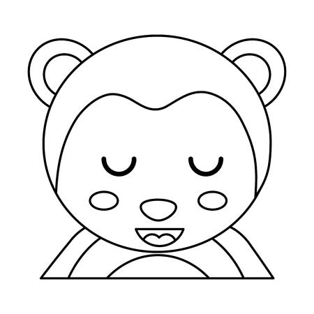 cute portrait monkey animal baby with close eyes vector illustration outline design Çizim
