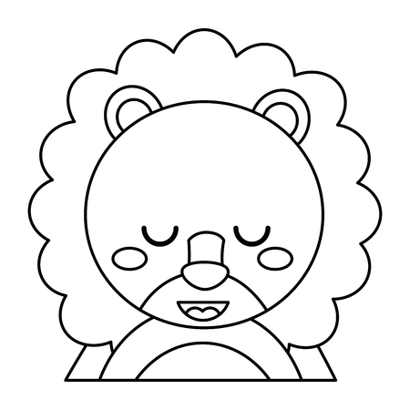 cute portrait lion animal baby with close eyes vector illustration outline design