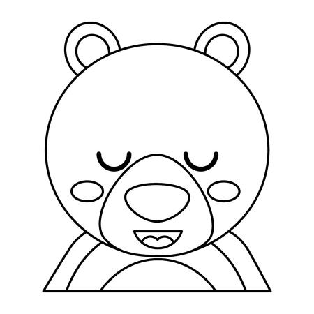 目を閉じたかわいいクマ動物の赤ちゃんベクトルイラストアウトラインデザイン