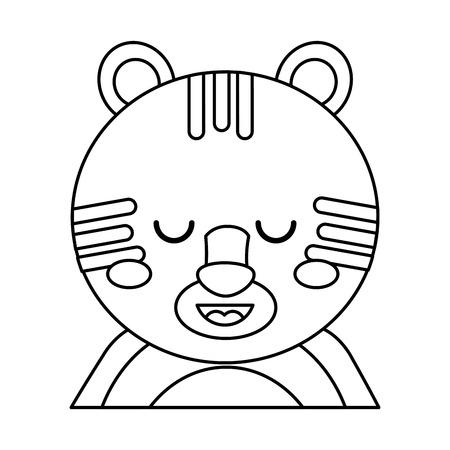 귀여운 초상화 호랑이 동물 아기 닫기 눈 벡터 일러스트 개요 디자인