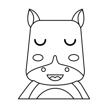 cute portrait hippo animal baby with close eyes vector illustration outline design