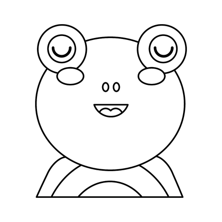 cute portrait frog animal baby vector illustration outline design
