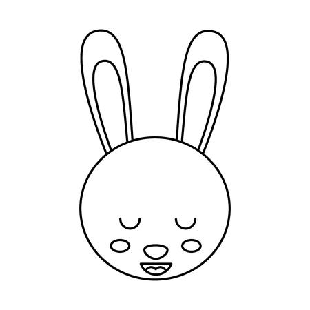 cute head rabbit animal close eyes cartoon vector illustration outline design