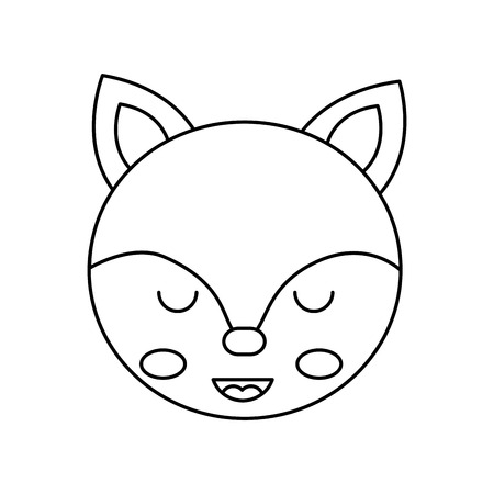 cute fox head animal close eyes cartoon vector illustration outline design Ilustrace