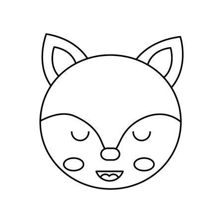 cute fox head animal close eyes cartoon vector illustration outline design Illusztráció