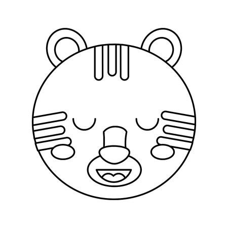 かわいい頭虎動物閉じ目漫画ベクトルイラストアウトラインデザイン  イラスト・ベクター素材