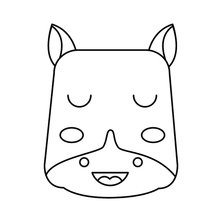 cute head hippo animal close eyes cartoon vector illustration outline design