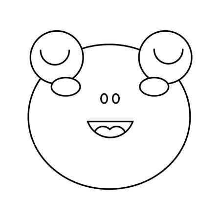 cute head frog animal close eyes cartoon vector illustration outline design