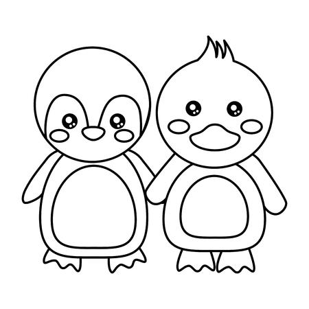 penguin duck holding hands cute animals icon image vector illustration design  black line