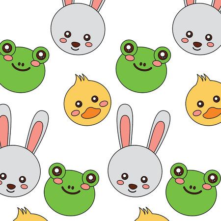 frog duck rabbit bunny cute animals pattern image vector illustration design  Ilustrace