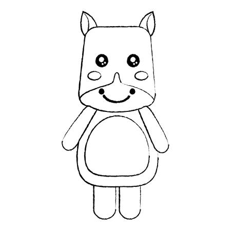 rhinoceros cute animal icon image vector illustration design  black sketch line Illustration