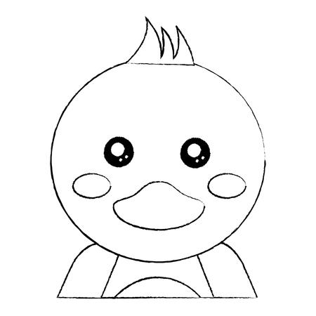 duck cute animal icon image vector illustration design  black sketch line