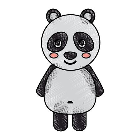 panda cute animal icon image vector illustration design  sketck style