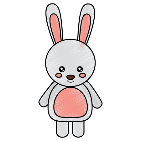 rabbit or bunny cute animal icon image vector illustration design  sketck style 向量圖像