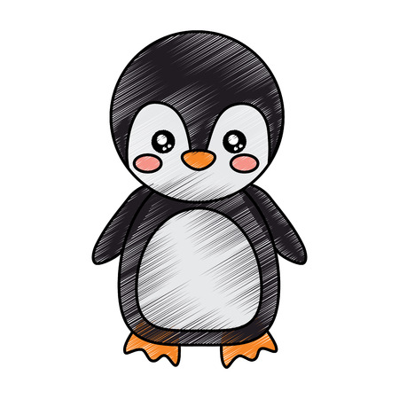 penguin cute animal icon image vector illustration design  sketck style