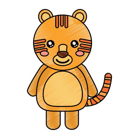 호랑이 귀여운 동물 아이콘 이미지 벡터 일러스트 디자인 스케치 스타일