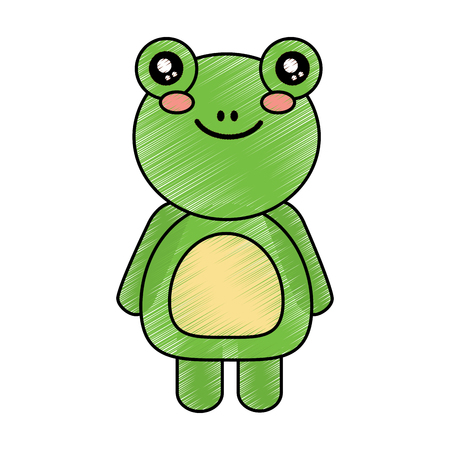 cute animal frog standing cartoon wildlife vector illustration drawing design Иллюстрация
