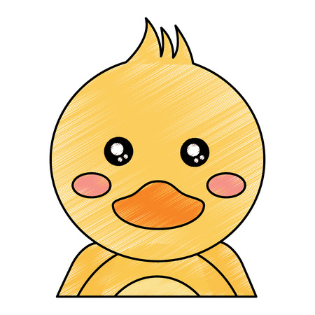 cute portrait duck animal baby vector illustration drawing design