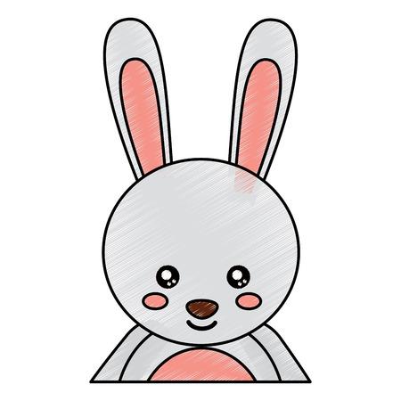 귀여운 초상화 토끼 동물 아기 벡터 일러스트 그리기 디자인 일러스트