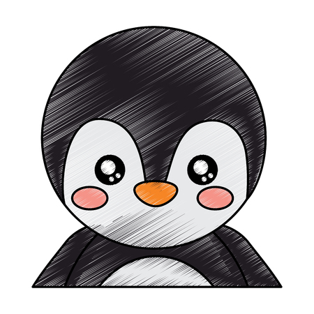 cute portrait penguin animal baby vector illustration drawing design