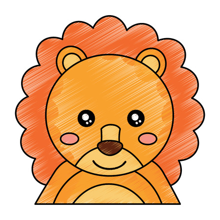 cute portrait lion animal baby vector illustration drawing design Illustration