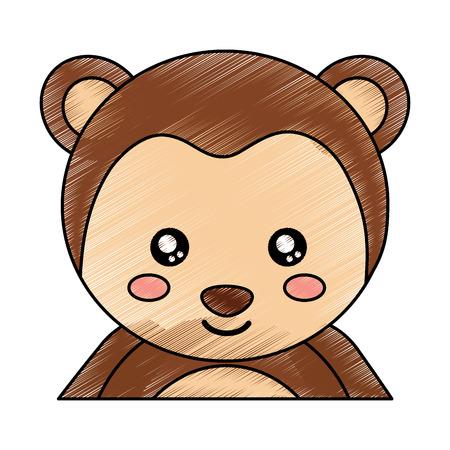 かわいい肖像猿動物赤ちゃんベクトルイラスト描画デザイン