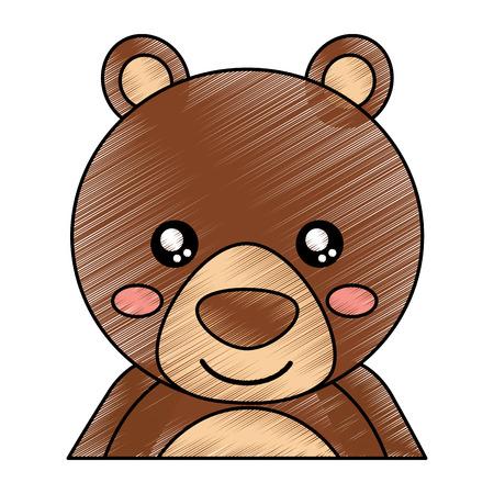 かわいいポートレートクマ動物赤ちゃんベクトルイラスト描画デザイン  イラスト・ベクター素材