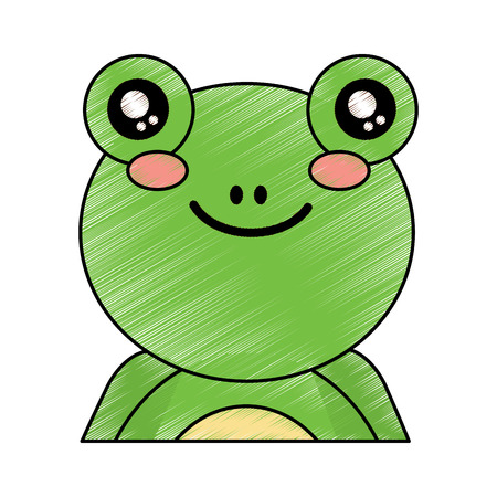 cute portrait frog animal baby vector illustration drawing design