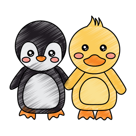 cute animals penguin and duck holding hands vector illustration drawing design Çizim