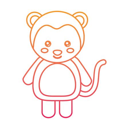 Cute monkey cartoon illustration.