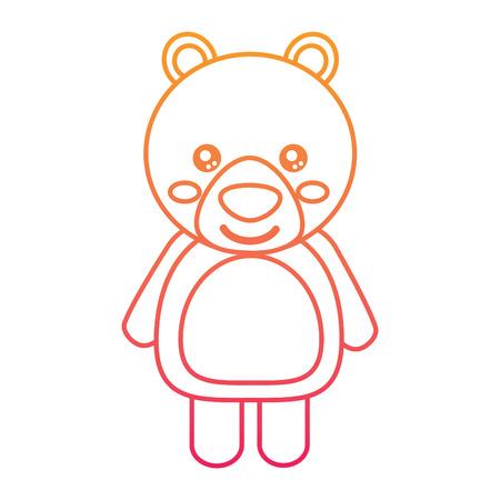 cute bear animal standing cartoon wildlife vector illustration color line design Illustration