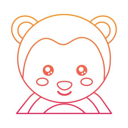 Cute portrait of a monkey illustration.