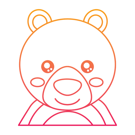 cute portrait bear animal baby vector illustration color line design
