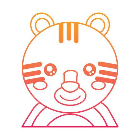 cute portrait tiger animal baby vector illustration color line design