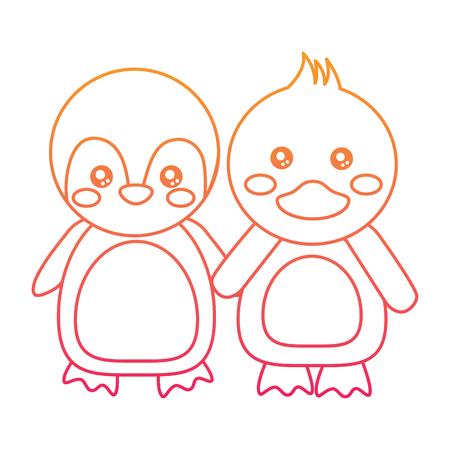Animales lindos pingüino y pato cogidos de la mano. Diseño de línea de color de ilustración vectorial. Foto de archivo - 93447905