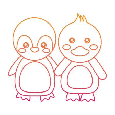 Cute animals penguin and duck holding hands. Vector illustration color line design.