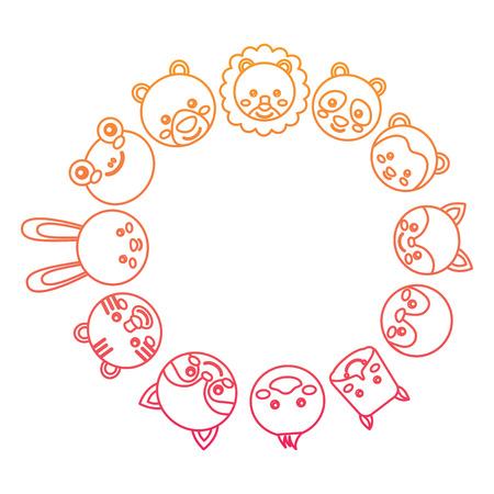 Cute animal circle illustration. Иллюстрация