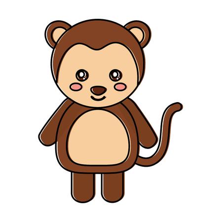 cute monkey animal standing cartoon wildlife vector illustration