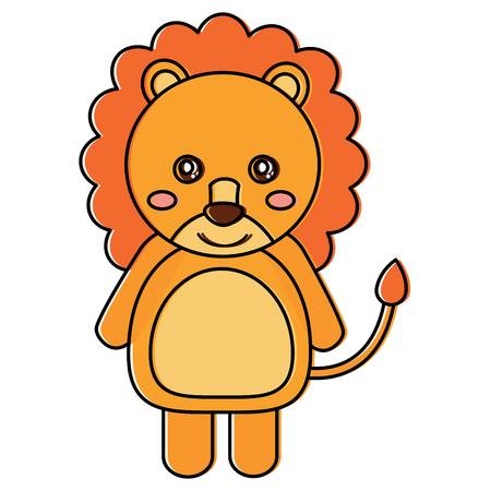 Cute lion animal standing cartoon wildlife vector illustration.
