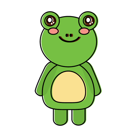 Cute animal frog standing, cartoon wildlife, vector illustration Иллюстрация