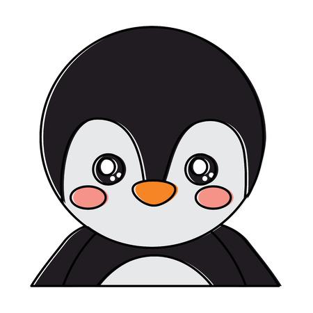 Cute portrait penguin animal baby. Vector illustration design.
